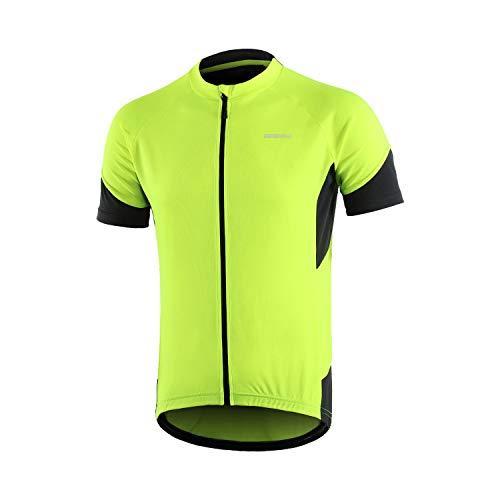 Bergrisar - Maglia da ciclismo a maniche corte da uomo, tasche con cerniera - Verde - XL