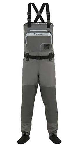 Piscifun Breathable Chest Waders - Stockingfoot Waders For Men and Women, Lightweight Fly Fishing Waders, 3-Layer Polyester Waterproof Stocking Foot Waders S