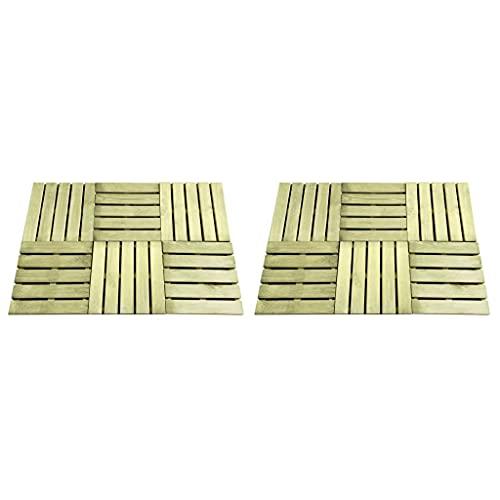 SHUJINGNCE Baldosa de Porche 12 Unidades Madera Verde 50x50 cm Respetuoso con el Medio Ambiente