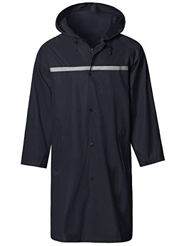Mens Long Hooded Safety Rain Jacket Waterproof Emergency Raincoat Poncho Navy Medium