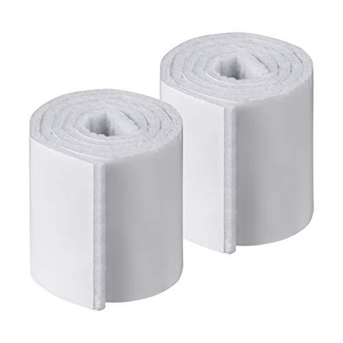 Metafranc Filz-Band 0,5 m x 50 mm - selbstklebend - weiß - 2 Stück - Frei zuschneidbar - Effektiver Schutz Ihrer Möbel / Filz-Klebeband auf Rolle / Möbelgleiter für empfindliche Böden / 647109