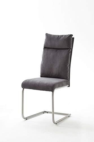 2Er-Set Schwingstuhl Stuhl Pia Freischwinger Chenille Rundrohr Sand oder Anthrazit (Anthrazit)