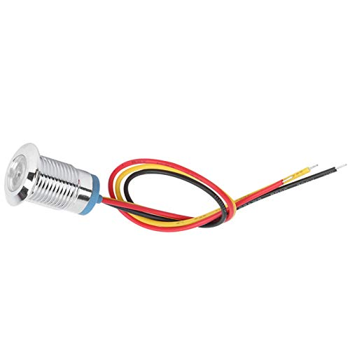 12-24 V 4 juegos de LED redondos precableados, indicador de 2 colores de metal resistente al agua, canal común de 12 mm para modificaciones de automóviles, modificaciones por computadora(Amarillo)