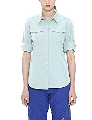 Little Donkey Andy Women's Stretch Quick Dry Water Resistant Outdoor Shirts UPF50+ for Hiking, Travel, Camping Light Blue Size XL