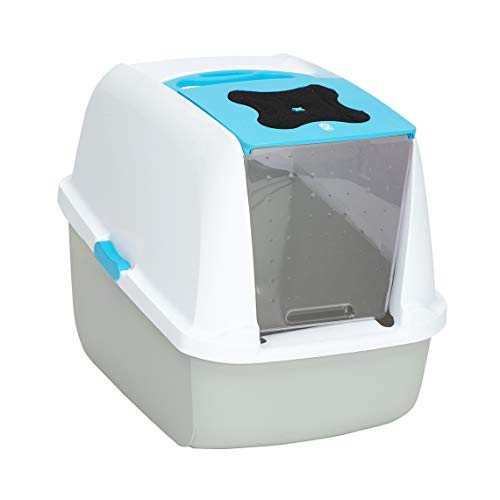Catit Style Hooded Cat Pan/Litter Tray/Litter Box, 57L x 46.5H x 39W, Blue