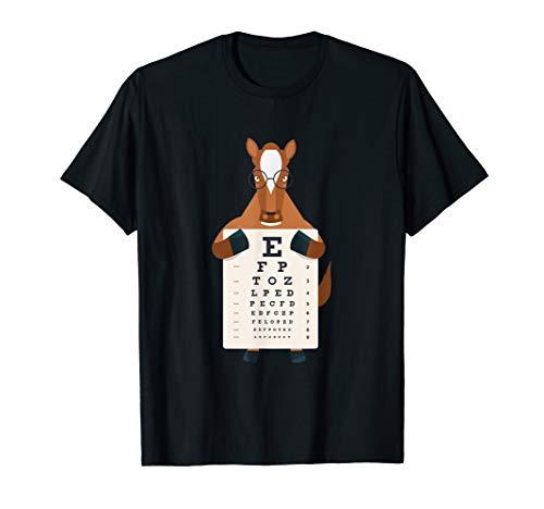 Pony Pferd Sehtest Optiker Sehtafel Brille Cartoon Kinder T-Shirt