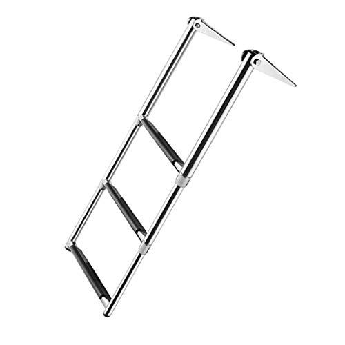 Escalera extensible/ Escalera telescópica Escalera telescópica para Barcos Acero Inoxidable de 3 Pasos para yate Marino/Piscina