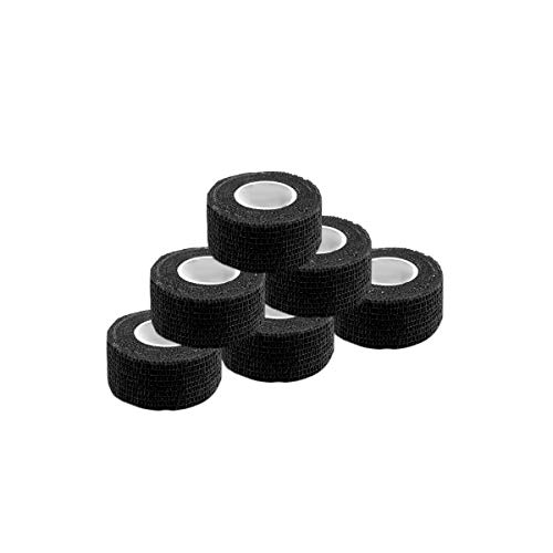 Self Adherent Wrap Tape Medical Cohesive Bandages Flexible Stretch Athletic Strong Elastic First Aid Tape for Sports Sprain Swelling and Soreness on Wrist and Ankle 6 Pack 1Inch X 5YardsBlack