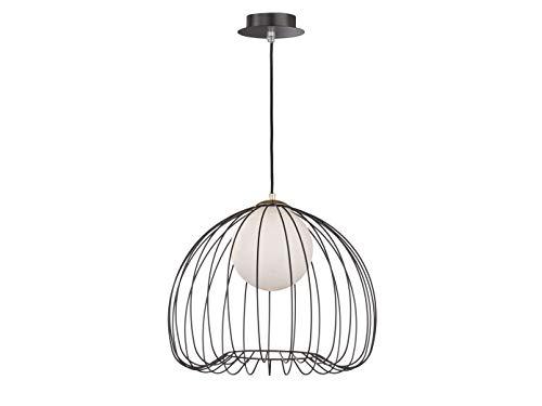 Honsel Suspension vintage LED en métal noir/doré Ø 38 cm Boule en verre opale blanc
