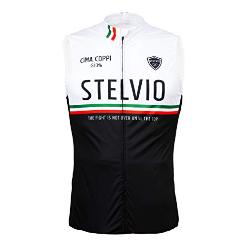 Level Jacket Stelvio - Chaleco de ciclismo sin mangas, cortavientos, tricolor, Stelvio Gavia Mortirol, blanco y negro, unisex (S)