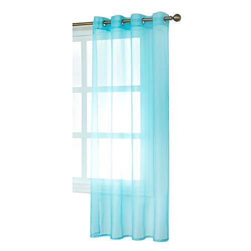 WOLTU Cortinas Transparente con Ojales Bufanda para adornar Ventana salón habitación y Dormitorio Moderno Anti-UV Respirable (1 Pieza) 140x175cm Turquesa VH5514ts
