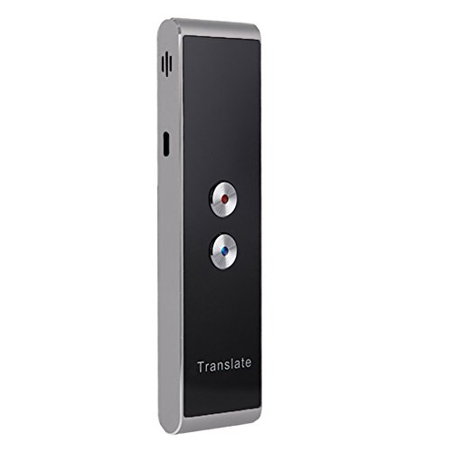 Sprachübersetzer, Tragbare Smart Zweiwege-Echtzeit-Sprachübersetzer, Unterstützung für Bluetooth APP Verbindung Textübersetzung, 30 + Sprachen für das Lernen von Geschäftsreisen(Silber schwarz)