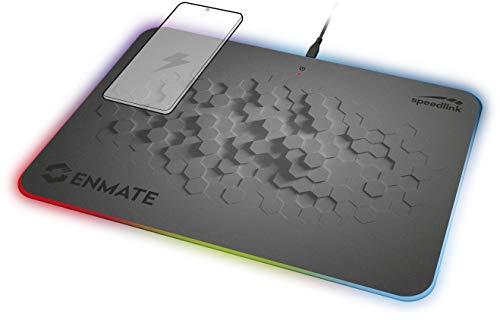 Speedlink Enmate RGB Charging Mousepad - Gaming-Mauspad mit Induktions-Ladefunktion - Grau