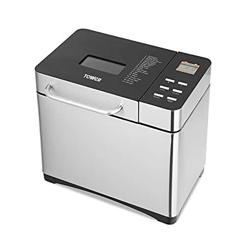Tower T11005 Digital Bread Maker with Adjustable Crust Control, Keep Warm Function and Removable Non-Stick Bowl, 650W, Silver