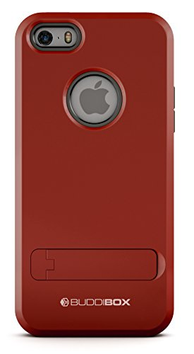 BUDDIBOX iPhone 5s Case, [Shield] Slim Dual Layer Protective Case with Kickstand for Apple iPhone 5 / 5s / SE, (Red)
