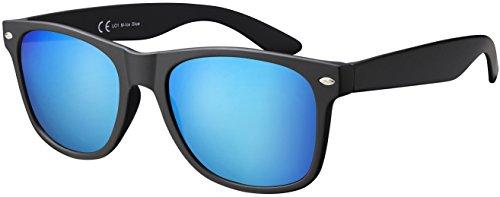 Original La Optica UV400 Unisex Sonnenbrille - Farben, Einzel-/Doppelpacks, Verspiegelt, Einzelpack Matt Schwarz (Gläser: Hellblau Verspiegelt), 53