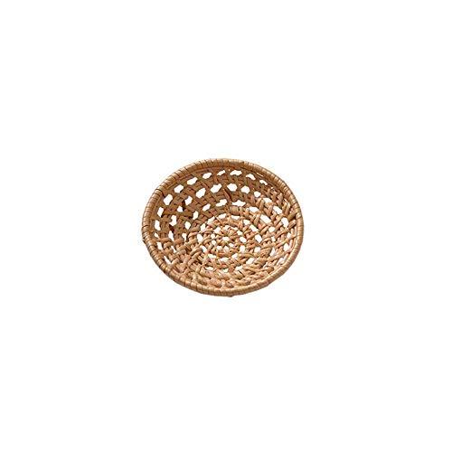 ZHUPI Imitation Rattan Woven Breads Basket, Poly-Wicker Food Fruit Vegetables Serving Display Basket for Home, Kitchen, Restaurant, Outdoor(Round S)