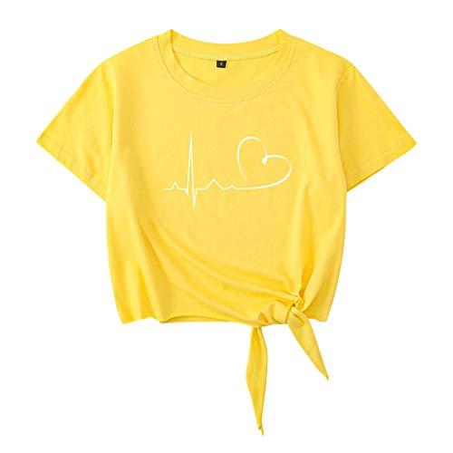 Crop Tops Damen Sommer, Teenager Mädchen Herzschlag Herz Tie Up Bauchfrei Oberteile Mode Love You Casual Sport Baumwolle Blusen Shirt Hemd Kurzes Tank Top Frauen Kurzarm T-Shirt Sale (A-Gelb,L)