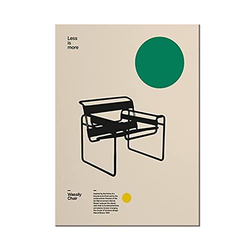 Tbdiberc Poster Wassily Stuhl, Marcel Breuer, Minimales MöbeldesignLeinwandmalerei Für Schlafzimmer Wohnzimmer Badezimmer Bibliothek O-50X70Cmx1 Kein Rahmen