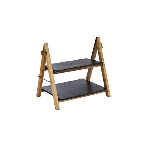 APS Serviergestell – 2-stufiges Gestell aus Akazienholz mit Zwei Schieferplatten – zusammenklappbar, abwaschbar – auch für kalte Speisen und zum Kühlen geeignet