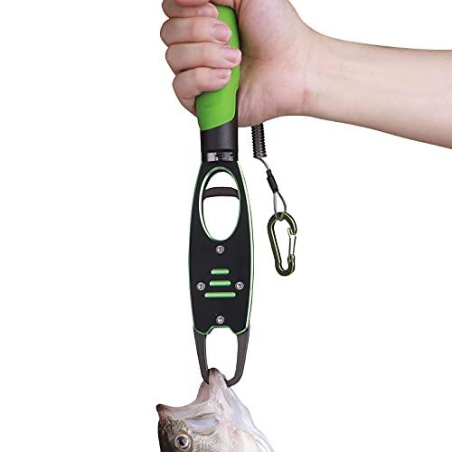 Night Cat Fish Lip Gripper with Scale 2 in 1 Aluminum Alloy Fish Lip Grabber Professional Fishing Lip Gripper Tool Kit for Men