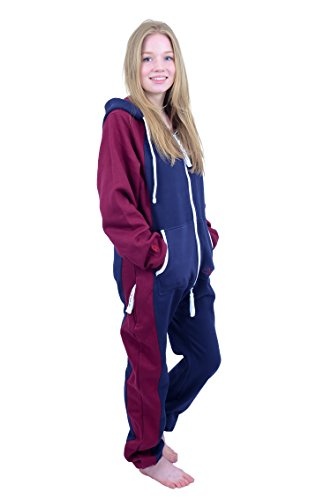 The Classic Unisex Onesie in Inky Blue and Maroon Sides - 4