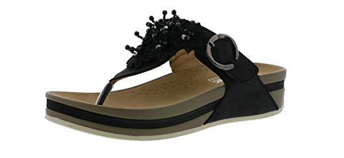 Rieker V1461 Damen Sandaletten,Sommerschuh,Sommersandale,bequem,flach,schwarz/00,39 EU / 6 UK