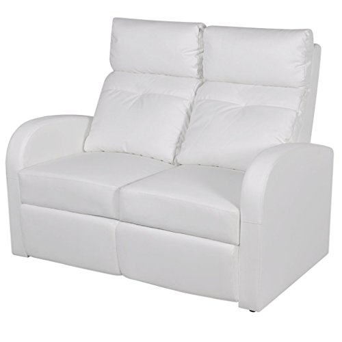 Festnight Kunstleder Relaxsessel Sessel 2-Sitzer-Sofa Fernsehsessel Ruhesessel Sitzkomfort Weiss