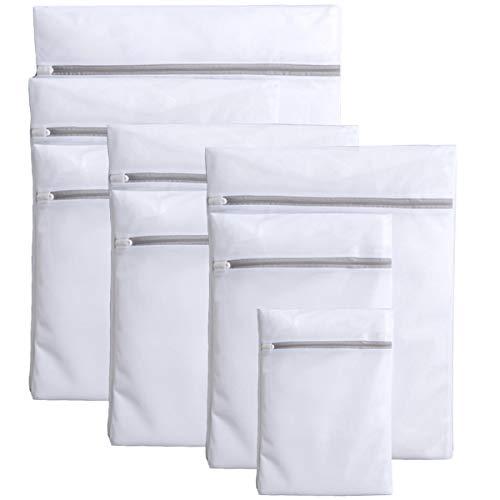 洗濯ネット 細かい綱目 8ピースセット(1XL+3L+3M+1S) コート/セーター/T-シャツ/ブラジャーなど適用 丈夫 耐久性 旅行 収納ネット 家庭用 ランドリー ネットバッグ 洗濯袋 ウォッシュ バッグ (ホワイト)