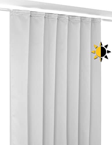 BEAUTEX Verdunkelungsgardine mit Kräuselband U-Band, Blackout Vorhang Blickdicht abdunkelnd, Größe und Farbe wählbar (Breite 140 cm. Höhe 245 cm, Hellgrau)