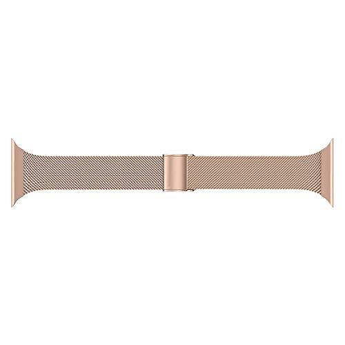 Seltureone Correa de metal compatible con Apple Watch de 42 mm y 44 mm, acero inoxidable de repuesto compatible para iWatch Serie 5/4/3/2/1 Sport Edition para hombre y mujer, oro rosa.