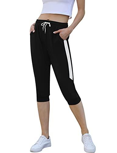 Pantalon Femme Coton 3/4 Long Sport avec Bande Blanche pour Fitness Jogging Gym Yoga Pantalon Pyjama d'intérieur Long Casual Ample Extensible Confortable
