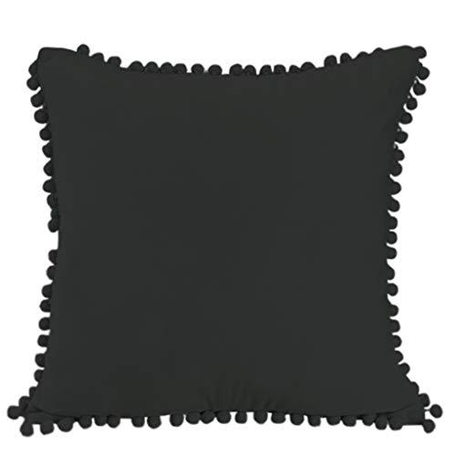 R1vceixowwi Juego de fundas de cojín de terciopelo suave y sólido, decorativas, cuadradas, para sofá, dormitorio, 45 x 45 cm, negro, gris