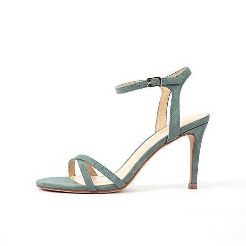 LXQLFY Damensandalen, High Heels, Flip-Flops, Stiletto, Open Toe-Mintgrün_35