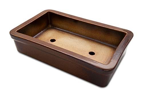 Bonsai pot en extérieur brun 29 x 18 x 7 cm-en grès (céramique de grande qualité) au gel