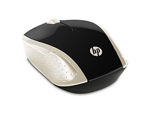 HP - PC 200 Mouse Wireless, Tecnologia LED Rosso, Laser fino a 1000 DPI, 3 Pulsanti, Rotella Scorrimento, Ricevitore USB Wireless 2.4 GHz Incluso, Design Pratico e Confortevole, Ambidestro, Oro