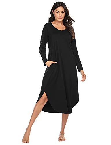 Ekouaer Long Sleepwear Plus Size Nightshirt for Women Comfortable Maxi Casual Dresses(Black, X-Large)