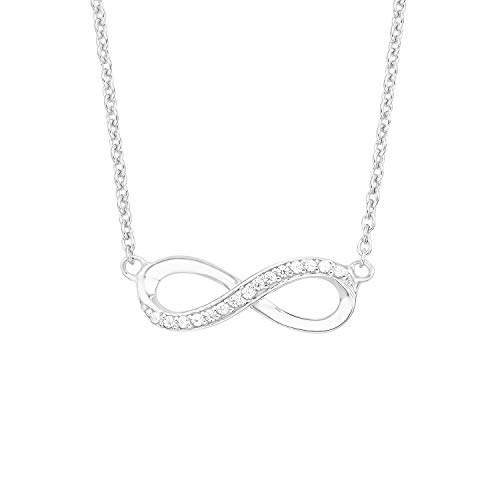 s.Oliver Women's Necklace (42 + 3 cm) with Infinity Symbol Pendant 925 Sterling Silver with White Zirconia