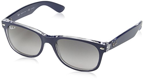 Ray-Ban RB2132 New Wayfarer Polarized Sunglasses, Blue On Transparent/Polarized Grey Gradient, 55 mm