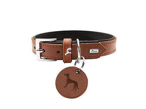 HUNTER LARVIK Hundehalsband, Leder, schlicht, elegant, komfortabel, 40 (XS-S), cognac/schwarz