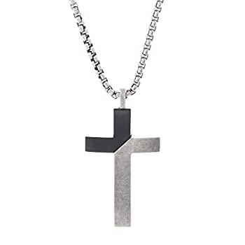 Steve Madden Black Rhodium IP Plated Stainless Steel Diagonal Design Cross Necklace for Men on 26 Inch Box Chain with 2 Inch Extender  Black