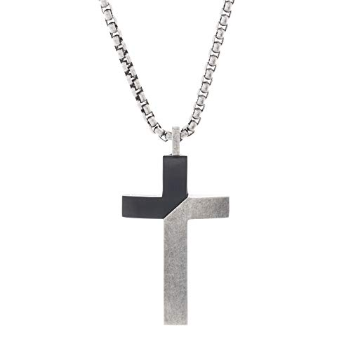 Steve Madden Black Rhodium IP Plated Stainless Steel Diagonal Design Cross Necklace for Men on 26 Inch Box Chain with 2 Inch Extender (Black)