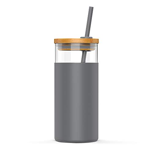 tronco 20oz Glass Tumbler Glass Water Bottle Straw Silicone Protective Sleeve Bamboo Lid - BPA Free (Charcoal Grey)