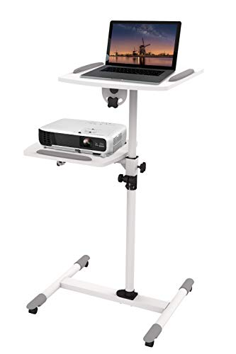 ERGO LIFE Mobile Projector Stand, Projector Presentation Trolley Stand Rolling Height Adjustable Projector and Laptop Cart, Mobile Ergonomic Presentation Trolley for office/home/classroom/meeting room