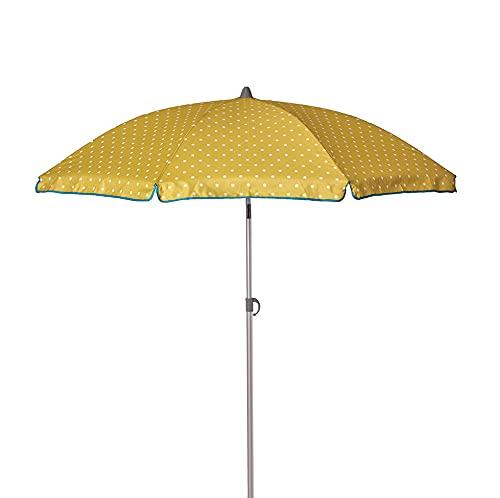Ezpeleta Sombrilla de Playa de Aluminio|Sombrilla terraza|Parasol Plegable y Ligero|Inclinable|Protección Solar UPF 50+|Diámetro 165cm|Incluye Funda y Rosca|Tejido Estampado (Topos-Verde)