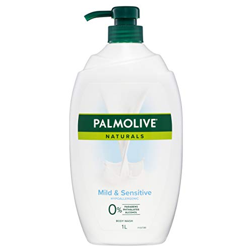 Palmolive Naturals Body Wash 1L, Mild and Sensitive, Soap Free Shower Gel, Clinically Tested, Non Irritating, Hypoallergenic, No Parabens Phthalates or Alcohol, Recyclable Bottle