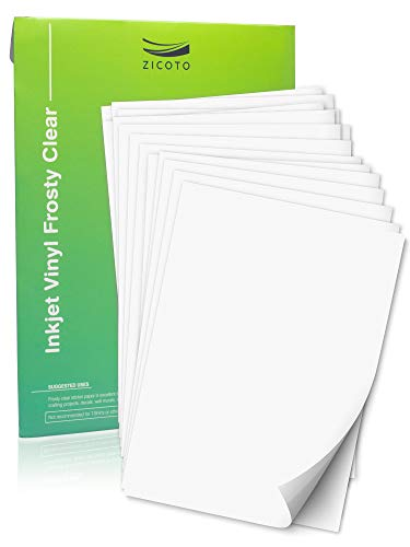 Premium Printable Vinyl Sticker Paper for Your Inkjet and Laser Printer - 15 Frosty Clear Waterproof Decal Paper Sheets - Dries Quickly and Holds Ink Beautifully