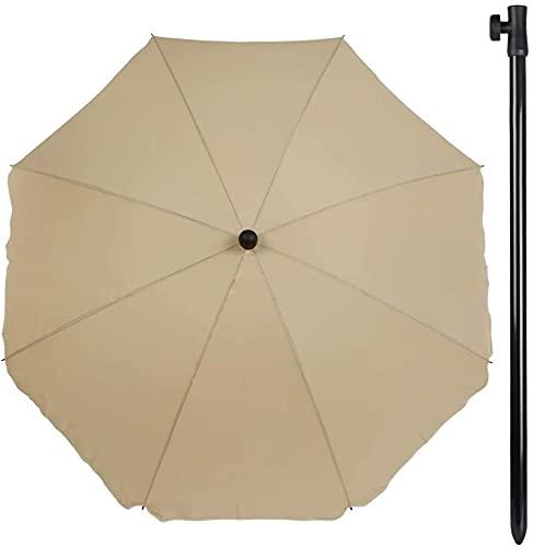 Aktive 85303 - Sombrilla de jardín con filtro solar - 240 cm diámetro color marrón