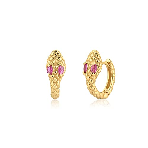 925 Plata Verde Circón Rueda Colgante Hubs Huggies Clips Piercing Joyería de fiesta Tiny Loops-Rose Red Gold