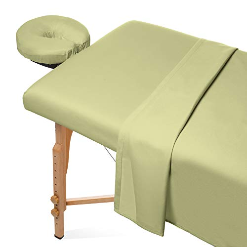 Saloniture 3-Piece Microfiber Massage Table Sheet Set - Premium Facial Bed Cover - Includes Flat and Fitted Sheets with Face Cradle Cover - Sage Green